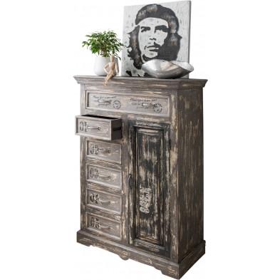 Armoire rustique à 1 porte et 2 tiroirs en bois de manguier massif coloris gris L. 90 x P. 42 x H. 130 cm collection Ocarballino