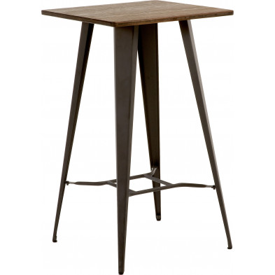 Table de bar contemporain gris en métal  L. 60 x P. 60 x H. 104 cm Collection Monachil