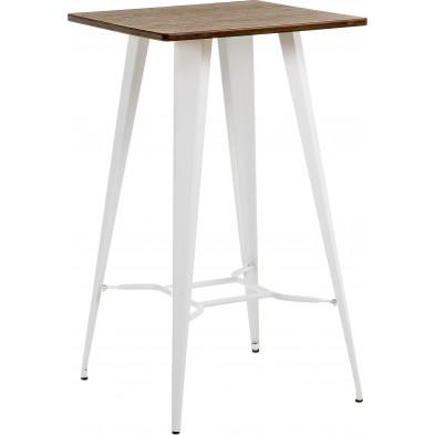 Table de bar contemporain blanc en métal L. 60 x P. 60 x H. 104 cm Collection Monachil