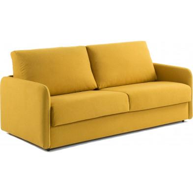 Canapé-lit design jaune en bois,tissu et polyuréthane L. 202 x P. 95 - 220 x H. 92 cm Collection Didiane