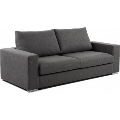 Canapé 3 places design gris en bois,tissu et mousse L. 228 x P. 105 x H. 94 cm Collection Sariba