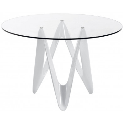Table à manger ronde design blanc en verre et polyuréthane L. 120 x P. 120 x H. 76 cm Collection Plankstadt