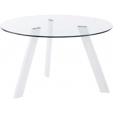 Table à manger design blanc en verre et métal  L. 130 x P. 130 x H. 75 cm Collection