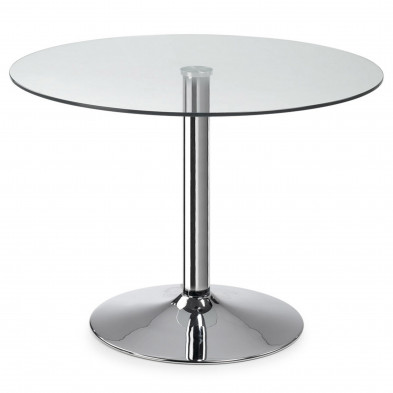 Table à manger ronde design argenté en verre et métal L. 110 x P. 110 x H. 74,5 cm Collection Santos