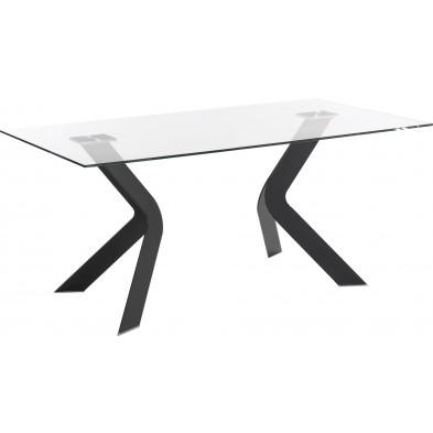 Table à manger design noir en verre et métal L. 150 x P. 90 x H. 76 cm Collection Soothe