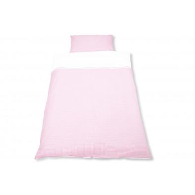 Housse de couette et drap d'oreiller design rose 100% coton 100x135 cm Collection Isabell