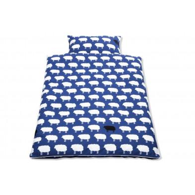 Housse de couette et drap d'oreiller design moutons coloris bleu 100% coton 100x135 cm Collection Isabell