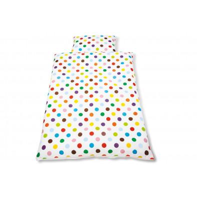 Housse de couette et drap d'oreiller design multicouleur 100% coton 100x135 cm Collection Isabell