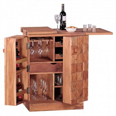 Casier à vin marron contemporain en bois massif acacia L. 65 - 130 x P. 65 - 130 x H. 91 cm collection Camperdown
