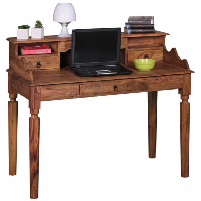 Bureau marron contemporain en bois massif L. 115 x P. 115 x H. 100 cm collection Camperdown