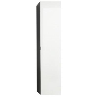 Colonne de rangement suspendue avec miroir intérieur coloris gris et blanc laqué L. 35 x P. 31 x H. 157 cm collection Oostvoorne