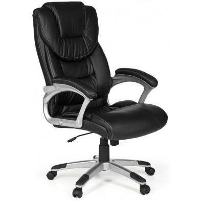 Chaise et fauteuil de bureau noir design en PVC L. 67 x P. 60 x H. 112 - 122 cm collection Corsanico