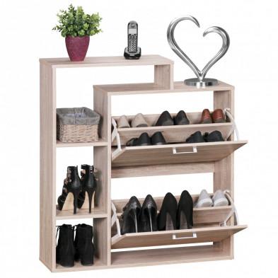 Meubles chaussures beige contemporain en bois mdf L. 85 x P. 24 x H. 93 cm collection Littlelever