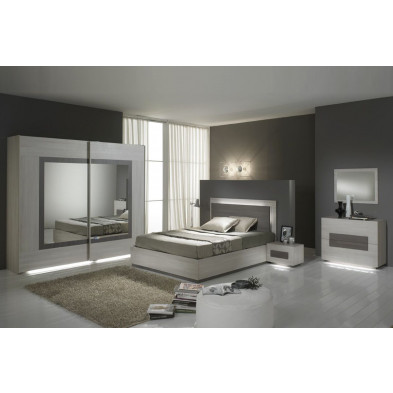 Chambre adulte complète marron design 160 x 200 cm collection Nomi