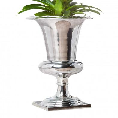 Objet de décoration vase en aluminium en argent L. 35 x P. 35 x H. 60 cm collection Donja