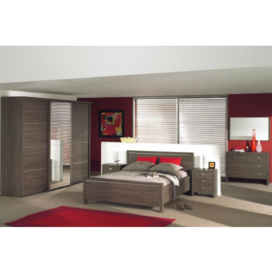 Chambre adulte complète marron contemporain collection Saintamand