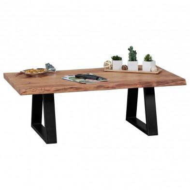 Table basse en bois marron industriel en acier L. 115 x P. 60 x H. 40 cm collection Kaylie
