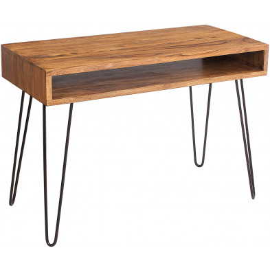 Bureau marron contemporain en bois massif sheesham piètement en acier L. 110 x P. 50 x H. 77 cm collection Meaux