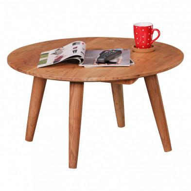 Table basse en bois marron contemporain en bois massif acacia L. 75 x P. 75 x H. 40 cm collection Lammens