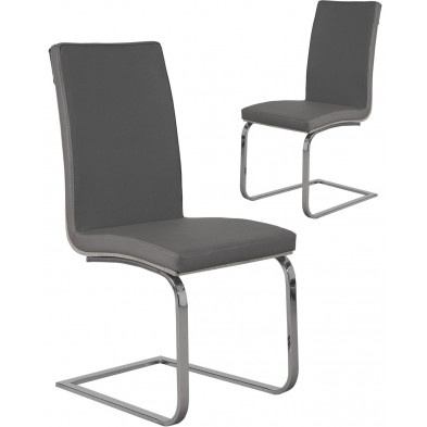 Lot de 2 Chaises de salle à manger moderne Gris Design L. 55 x P. 40 x H. 38 cm collection Breakfast