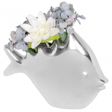 Vase argenté design en aluminium L. 16 x H. 21 cm collection Ayub