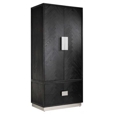 Armoire 2 portes design en bois massif chêne noir avec piètement en acier inoxydable argenté , L. 100 x P. 60 x H. 220 cm collection Blackbone  Richmond Interiors Richmond Interiors