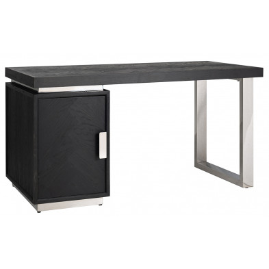 Bureau design en bois massif chêne noir avec piètement en acier inoxydable argenté , L. 150 x P. 70 x H. 77 cm collection Blackbone  Richmond Interiors Richmond Interiors