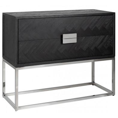 Table de chevet design en bois massif chêne noir avec piètement en acier argenté, L. 108 x P. 45 x H. 87 cm collection Blackbone  Richmond Interiors Richmond Interiors