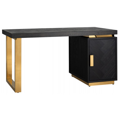 Bureau design en bois massif chêne noir avec piètement en acier inoxydable doré,  L. 150 x P. 70 x H. 77 cm,  collection Blackbone  Richmond Interiors Richmond Interiors