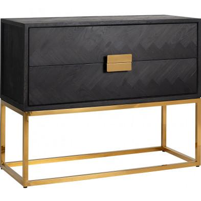Table de chevet design en bois massif chêne noir avec piètement en acier inoxydable doré , L. 108 x P. 45 x H. 87 cm collection Blackbone  Richmond Interiors Richmond Interiors