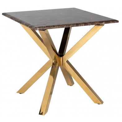 Table de salle à manger design plateau en imitation marbre marron avec piètement en acier inoxydable doré , L. 60 x P. 60 x H. 58 cm collection Conrad Richmond Interiors Richmond Interiors