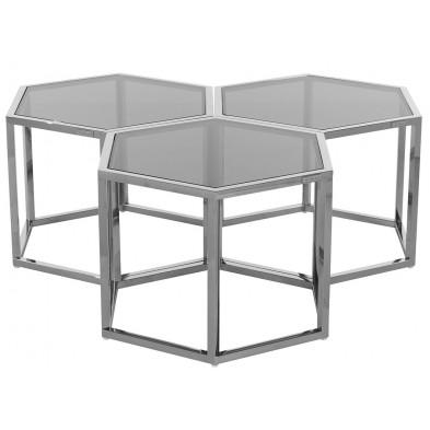 Table basse design argenté en acier inoxydable et verre, L. 60 x P. 52 x H. 40 cm collection Penta Richmond Interiors Richmond Interiors