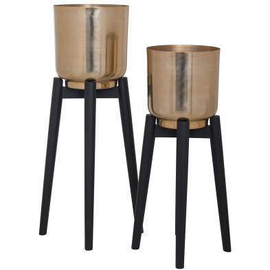 Lot de deux vases Design Noir et Or, L. 26.5-24 x P. 26.5-24 x H. 81-68 cm  collection Jalyce Richmond Interiors Richmond Interiors