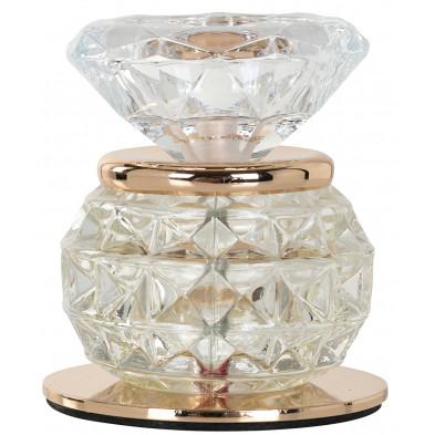 Bougeoirs et chandeliers coloris or et transparent design en acier et verre, L. 8 x P. 8 x H. 9 cm collection Juul Richmond Interiors Richmond Interiors