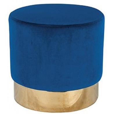 Pouf et tabouret bleu design en acier et velours , L. 42 x P. 42 x H. 41.5 cm  collection Lilou Richmond Interiors Richmond Interiors