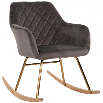 Fauteuil à bascule scandinave revêtement velours marron avec piètements en acier doré et bois Collection Rocky L. 57.5 x P. 80 x H. 79 cm Richmond Interiors Richmond Interiors