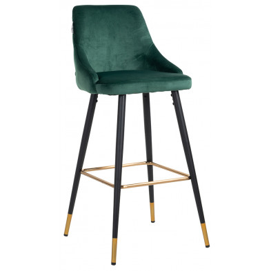 Tabouret de bar design revêtement velours vert avec pieds en acier noir et or collection Imani L. 50 x P. 61 x H. 109 cm Richmond Interiors Richmond Interiors
