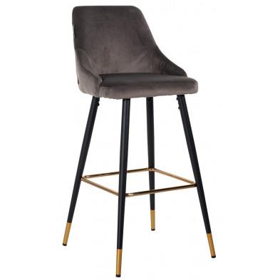 Tabouret de bar design revêtement velours marron avec piètement en acier noir et or collection Imani L. 50 x P. 61 x H. 109 cm Richmond Interiors Richmond Interiors