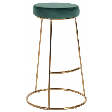 Tabouret de bar design revêtement en velours vert marron avec piètement en acier doré Collection Brandy L. 43 x P. 43 x H. 74 cm Richmond Interiors Richmond Interiors
