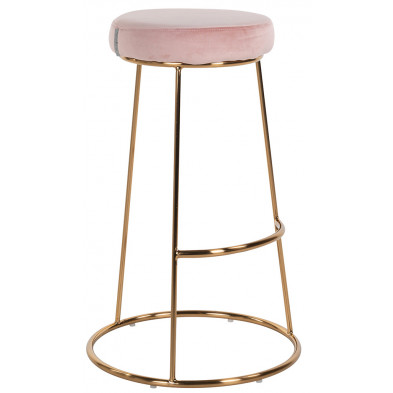 Tabouret de bar design revêtement en velours rose avec piètement en acier doré Collection Brandy L. 43 x P. 43 x H. 74 cm Richmond Interiors Richmond Interiors