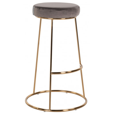 Tabouret de bar design revêtement en velours marron avec piètement en acier doré Collection Brandy L. 43 x P. 43 x H. 74 cm Richmond Interiors Richmond Interiors