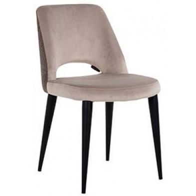 Chaise de salle à manger design revêtement en velours taupe avec piètement en acier noir collection Tabitha L. 49 x P. 62 x H. 85.5 cm Richmond Interiors Richmond Interiors