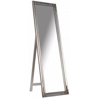 Grand miroir psyché en bois style classique coloris argent L. 45 x P. 3 x H. 160 cm collection Greenbay