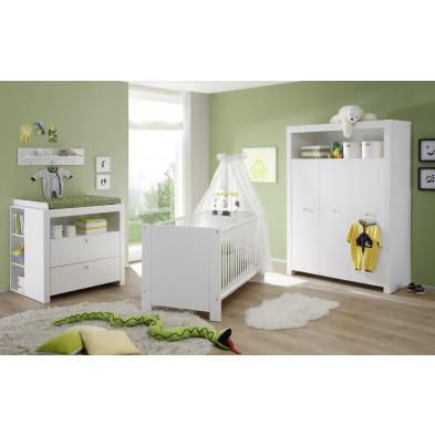 Chambre bébé 5 pièces avec lit 70x140 cm , commode à langer , étagère murale , étagère pour commode à langer et armoire bébé coloris blanc collection Johann