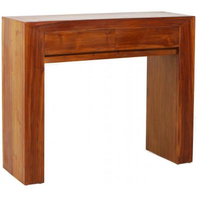 Consoles marron rustique en bois contreplaqué avec piètement en bois massif L. 90 x P. 30 x H. 75 cm collection Turnroth
