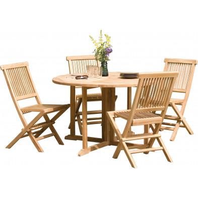 Ensemble table et chaise marron contemporain en bois massif teck L. 120 x P. 120 x H. 75 cm collection Sechelt