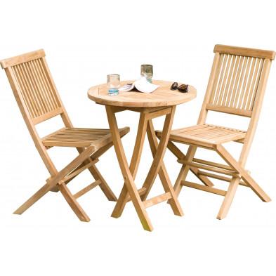 Ensemble table et chaise marron contemporain en bois massif teck L. 60 x P. 60 x H. 77 cm collection Sechelt