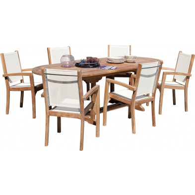 Ensemble table et chaise marron contemporain en bois massif teck L. 180/240 x P. 100 x H. 75 cm collection Sechelt