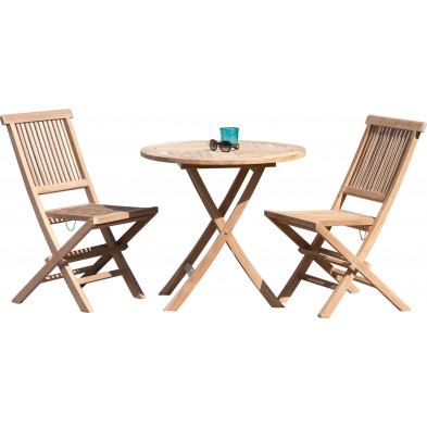 Ensemble table et chaise marron contemporain en bois massif teck L. 80 x P. 80 x H. 75 cm collection Sechelt