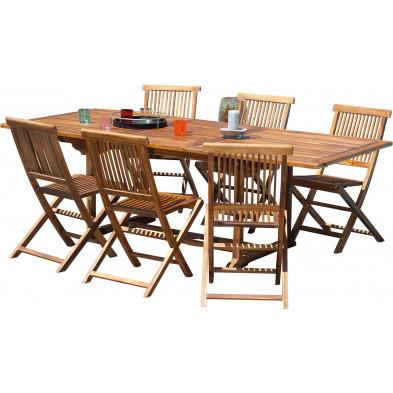 Ensemble table et chaise marron contemporain en bois massif teck L. 180/240 x P. 100 x H. 75 cm collection Chavelli